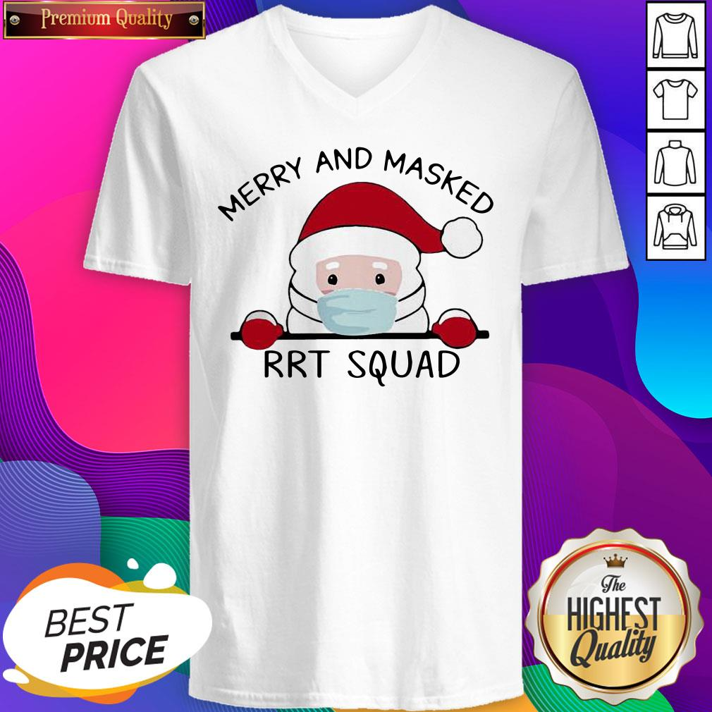Santa Face Mask Merry And Masked Rrt Squad Christmas V-neck- Design By Sheenytee.com