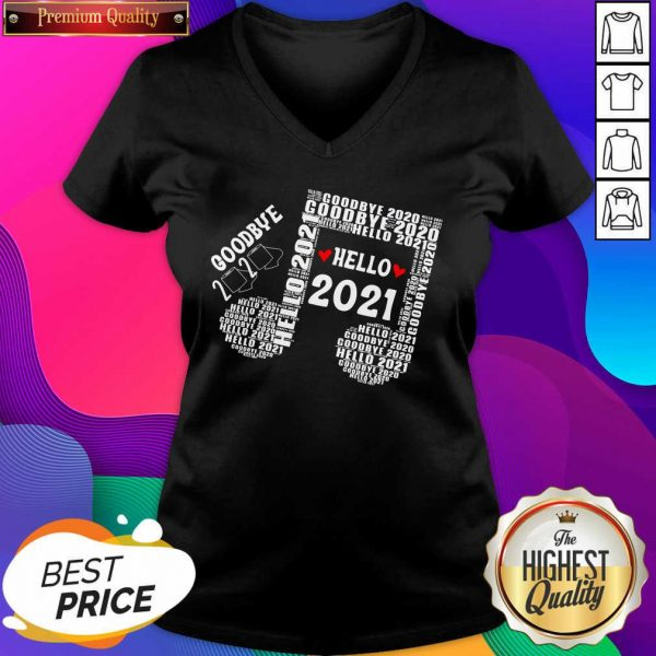 Bye 2020 Hello 2021 New Years Heart Music Note V-neck- Design By Sheenytee.com