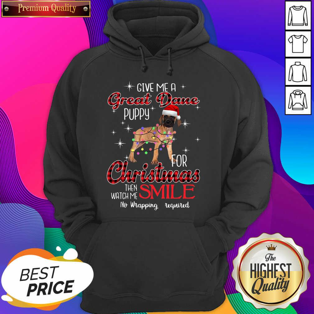 Dog Give Me A Great Dane Puppy For Christmas Then Watch Me Smile No Wrapping Required Hoodie- Design By Sheenytee.com
