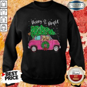 Merry And Bright Pitbull Dog Christmas Sweatshirt- Design By Sheenytee.com