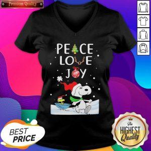 Snoopy Peace Love Joy Christmas V-neck- Design By Sheenytee.com