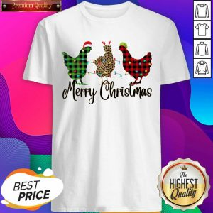 Chickens Leopard Plaid Lights Merry Christmas Shirt- Design By Sheenytee.com