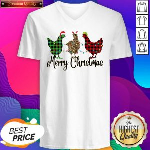 Chickens Leopard Plaid Lights Merry Christmas V-neck- Design By Sheenytee.com