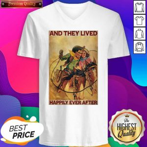 Cowboys Horse Rodeo Couple And They Lived Happily Ever After V-neck- Design By Sheenytee.com