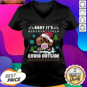 Baby It's Covid Outside Chihuahua Wear Hat Santa With Mask Ugly Christmas V-neck- Design By Sheenytee.com