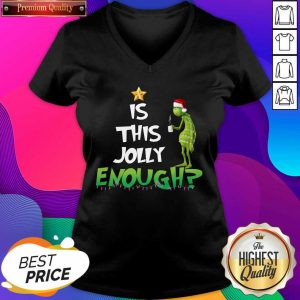 Grinch Is This Jolly Enough Light Christmas V-neck- Design By Sheenytee.com