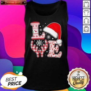 Love Hat Santa And Reindeer Ugly Christmas Tank Top- Design By Sheenytee.com