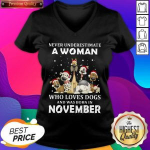 Never Underestimate A Woman Who Loves Dogs And Was Born In August Christmas V-neck- Design By Sheenytee.com