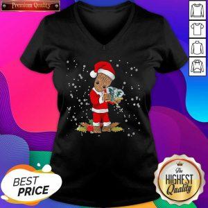 Santa Baby Groot Hug Oakland Athletics Christmas V-neck- Design By Sheenytee.com
