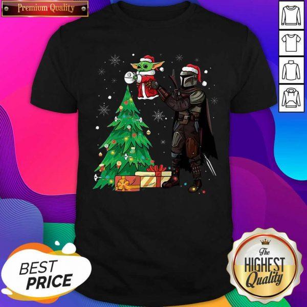 Darth Vader and Baby Yoda Santa tree Christmas Shirt- Design By Sheenytee.com