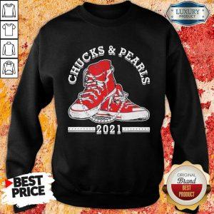 Angry Kamala Harris Chucks And Pearls 2021 Red Converse Sweatshirt - Design by Sheenytee.com