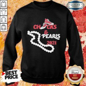Confused Kamala Harris Vice President Chucks And Pearls Red Converse Snacker 2021 Sweatshirt - Design by Sheenytee.com