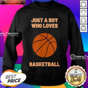 Just A Boy Who Loves 1 Basketball Sweatshirt - Design by Sheenytee.com