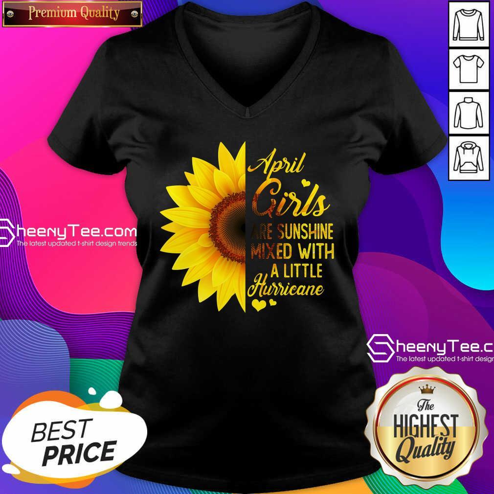 Premium April Girls Are Sunshine Mixed Little Hurricane Sunflower V-neck