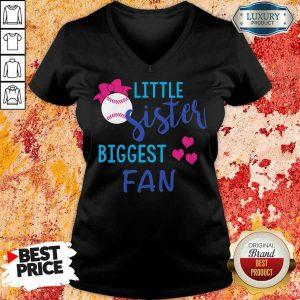 Baseball Little Sister Biggest Fan V-neck